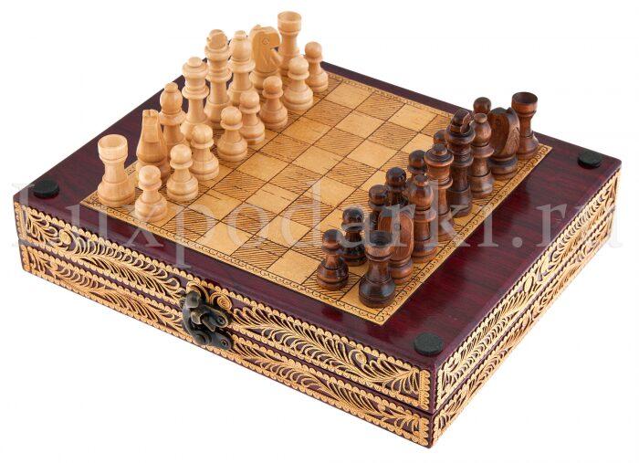 Набор для шахмат и покера из бересты- 2
