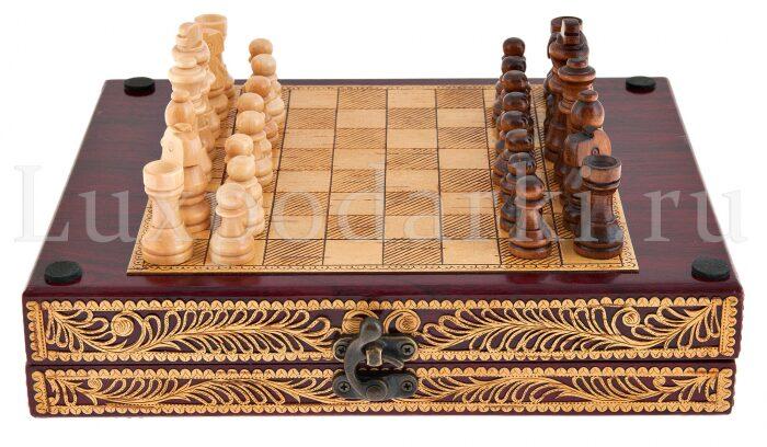 Набор для шахмат и покера из бересты- 6
