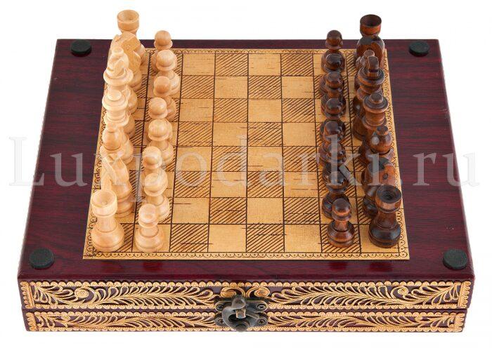 Набор для шахмат и покера из бересты- 4