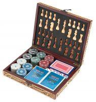 Набор для шахмат и покера из бересты