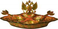 Менажница с гербом РФ, хохлома