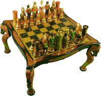 Шахматы резные на столе, хохлома