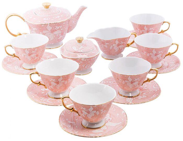 """Чайный сервиз  Pavone """"Фиоре Дорато""""  на 6 персон (15 предметов)- 0"""