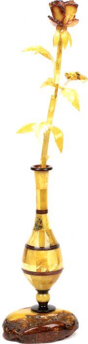 Янтарная роза в вазе- 0