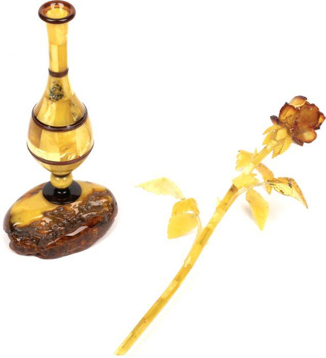 Янтарная роза в вазе- 5