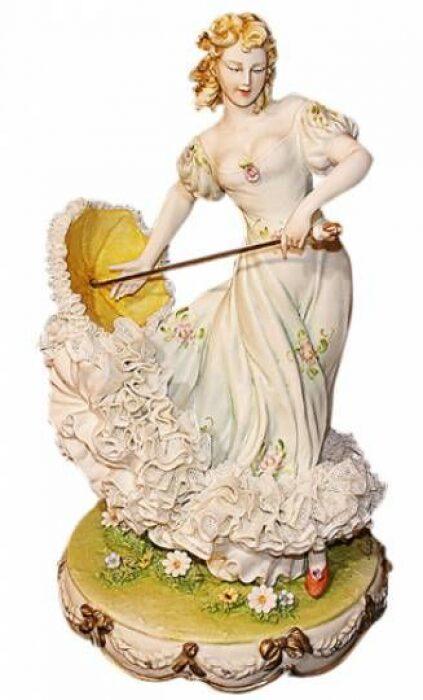 """Статуэтка  Porcellane Principe """"Дама с зонтиком""""  разноцветная- 0"""