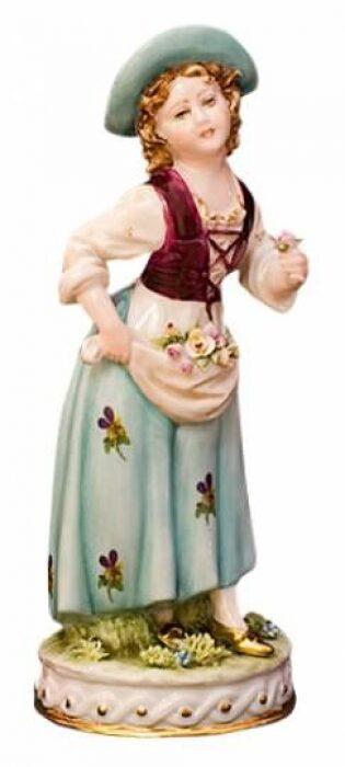 """Скульптура  Tiche """"Девушка в переднике""""  в зеленой шляпке и бордовой жилетке- 0"""