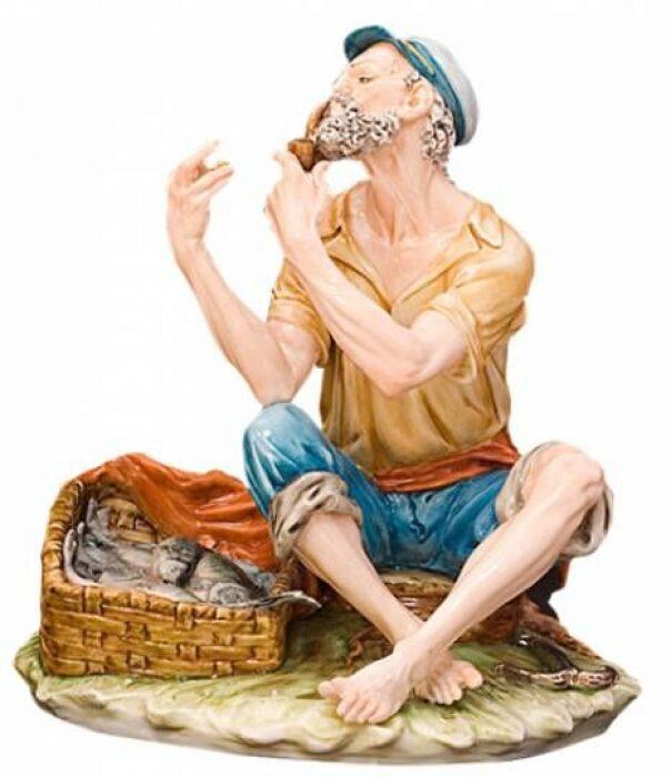 "Скульптура  Tiche ""Рыбак с трубкой"" - 0"