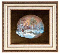 "Картина на агате ""Снегири"""