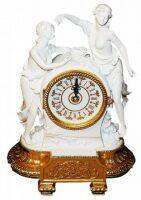 """Часы  Tiche """"Две девушки"""" , цвет: белый на подставке золотого цвета"""