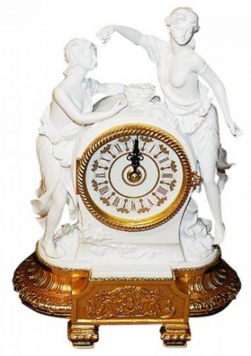 """Часы  Tiche """"Две девушки"""" , цвет: белый на подставке золотого цвета- 0"""