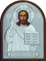 Серебряная икона Иисуса Христа Спасителя 9x 11 см