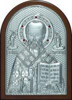 Серебряная икона инкрустированная гранатами святителя Николая Чудотворца (Угодника) 14,5 x 20 см