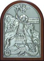 Серебряная икона инкрустированная гранатами Святого Георгия Победоносца 14,5 x 20 см