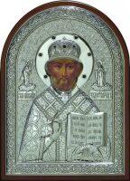 Cеребряная икона инкрустированная гранатами святителя Николая Чудотворца (Угодника) 25 x 34 см