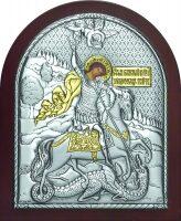 Серебряная с золочением икона Святого Георгия Победоносца 7 x 8,5 см