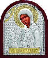 Серебряная с золочением икона Святой Блаженной Матроны Московской 9 x 11 см