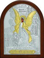 Серебряная с золочением детская икона Ангела Хранителя 12 x 16 см