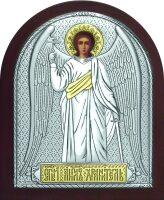 Серебряная с золочением икона Ангела Хранителя 9 x 11 см
