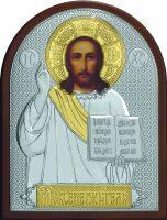 Серебряная с золочением икона Иисуса Христа Спасителя 12 x 16 см