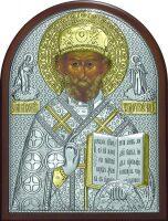 Серебряная с золочением икона святителя Николая Чудотворца (Угодника) 19 x 25 см