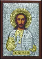 Серебряная с золочением икона Иисуса Христа Спасителя 15 x 21 см