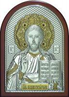 Серебряная с золочением инкрустированная гранатами икона Иисуса Христа Спасителя 14,5 x 20 см