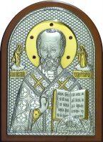Cеребряная с золочением нкрустированная гранатами икона святителя Николая Чудотворца (Угодника) 14,5 x 20 см