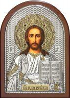 Серебряная с золочением инкрустированная драгоценными камнями икона Иисуса Христа Спасителя 14,5 x 20 см