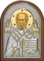 Cеребряная с золочением инкрустированная гранатам икона святителя Николая Чудотворца (Угодника) 14,5 x 20 см