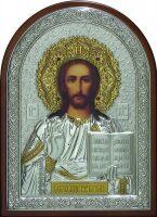 Cяребряная с золочением инкрустированная драгоценными камнями икона Иисуса Христа Спасителя 25 x 34 см