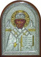 Серебряная с золочением инкрустированная гранатами икона святителя Николая Чудотворца (Угодника) 25 x 34 см
