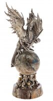 """Авторская скульптура из бронзы  Братья Озюменко """"Дракон на шаре"""""""