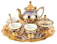 """Чайный сервиз """"Для тепла"""" на 3 персоны, синий (Златоуст)"""