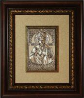 Икона серебряная Николай Чудотворец 100 х 150, резной багет