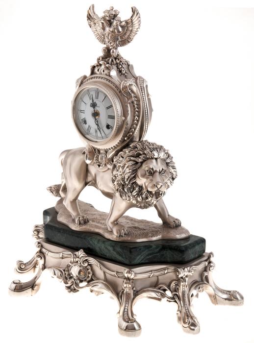 """Часы  Linea Argenti """"Лев""""  механические, цвет: серебряный, на мраморной подставке зеленого цвета, с гербом- 1"""