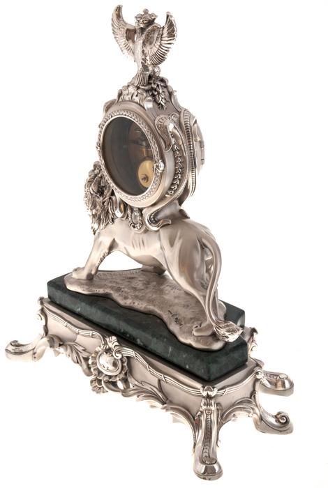 """Часы  Linea Argenti """"Лев""""  механические, цвет: серебряный, на мраморной подставке зеленого цвета, с гербом- 2"""