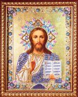 """Икона с драгоценными камнями """"Господь Вседержитель"""" с топазами"""