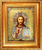 """Икона с драгоценными камнями """"Господь Вседержитель"""" с ониксами"""