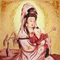 """Картина из янтаря """"Женщина с ребенком"""""""