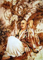 "Янтарная картина ""Монах под деревом"""