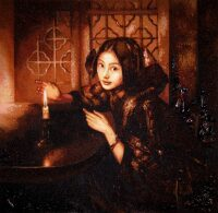 "Картина из янтаря ""Девушка при свече"""