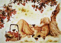 "Картина из янтаря ""Старик под деревом"""