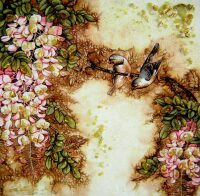 """Картина из янтаря """"Птички в цветах"""""""