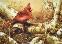 "Янтарная картина ""Красный кардинал"""