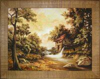"Картина из янтаря ""Домик на берегу реки"""