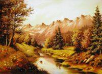 "Картина из янтаря ""Лесная река"""
