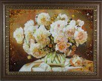 """Картина из янтаря """"Букет пионов"""""""