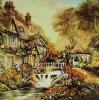 """Картина из янтаря """"Сказочный домик"""""""