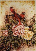 """Янтарная картина """"Красные птицы"""""""
